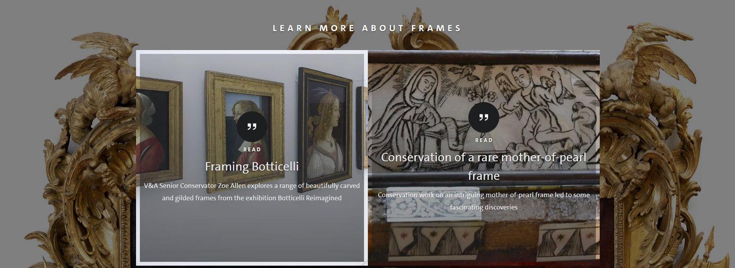 Frames VandA learn more